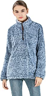 Gyryp Fleece Sherpa Pullover Hoodie Women 1/4 Zip Pullover Frosty Pile Tipped Stadium Sweater
