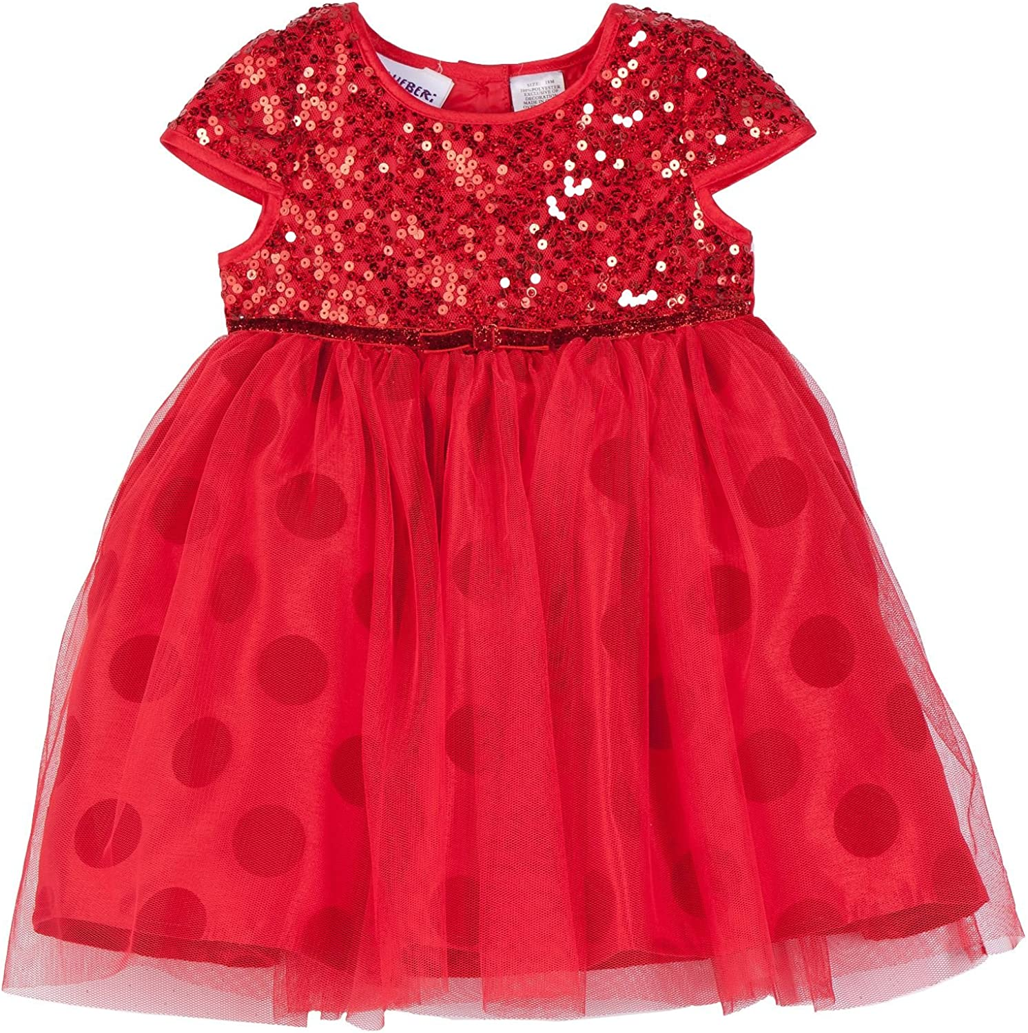 Blueberi Boulevard Girls Red Sequin Dot Holiday Party Special Occasion Dress