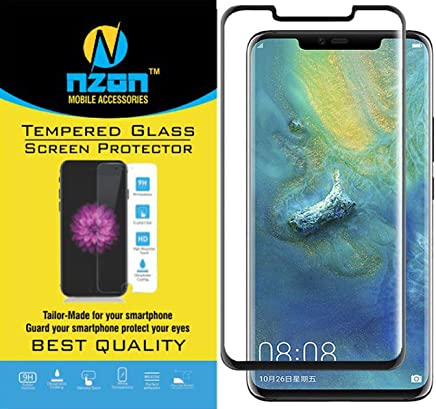 nzon Edge-to-Edge Curved Scratch Proof Bubble-free 9H 0.3 mm Tempered Glass Screen Protectors for Huawei Mate 20 Pro (Black)