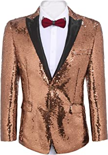 Men's Shiny Sequins Suit Jacket Blazer One Button Tuxedo for Party,Wedding,Banquet,Prom