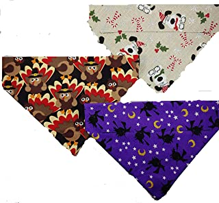 Halloween, Thanksgiving and Christmas Over The Collar Dog Bandana 3 Pack