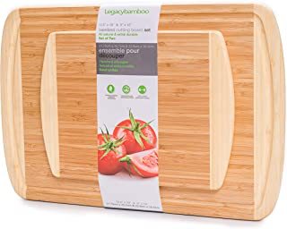 Extra Large Bamboo Cutting Boards For Kitchen Set Of 2 - 18'' x 12' ' x 0.7'' & 12'' x 9'' x 0.7'' -Organic Wood Chopping Board, Large Bamboo Cutting Board And Cheese Board