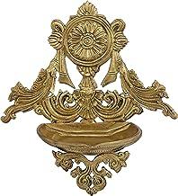 Vaishnava Chakra Decorated Puja Lamp (Hoysala Art) - Bronze Statue