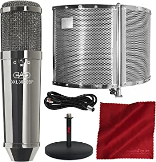 CAD Audio GXL3000BP Condenser Microphone with CAD Audio AS22 Foldable Acoustic Enclosure and Deluxe Microphone Accessory Bundle