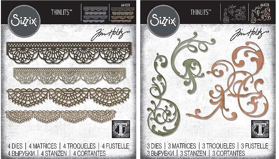 Tim Holtz Sizzix Intricate Edges & Flourishes Die Bundle - Crochet and Adorned Thinlit Sets - 2 Items