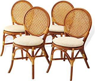 Rattan Wicker Furniture Set of 4 Denver Dining Armless Accent Side Chair Handmade Colonial