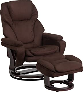 Flash Furniture Contemporary Multi-Position Recliner and Ottoman with Swivel Mahogany Wood Base in Brown Microfiber