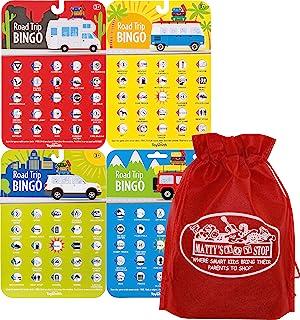 Toysmith Road Trip Bingo Cards Red, Blue, Green & Orange Gift Set Travel Bundle with Bonus Matty's Toy Stop Storage Bag - 4 Pack