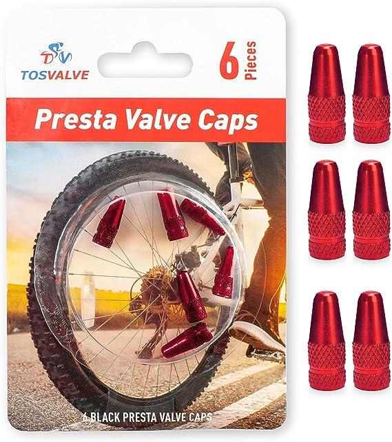 5 pcs Aluminum Bicycle Presta Valve Caps Bike Tire Valve Stem Cap Wheel Air Dust