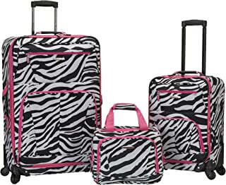 Luggage 19 Inch 28 Inch Expandable Spinner 14 Tote, Pink Zebra, One Size