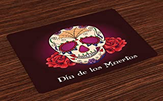 Ambesonne Day of The Dead Place Mats Set of 4, Dia de Los Muertos Words Spanish Skull Dead Head Skeleton Vivid Print, Washable Fabric Placemats for Dining Room Kitchen Table Decor, Cream Plum