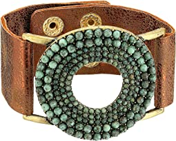 Circle Turquoise Stones Leather Bracelet