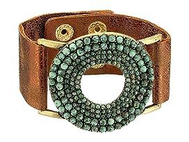 Circle Turquoise Stones Leather Bracelet