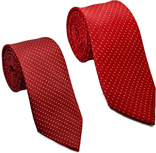 Luxeis Men Premium Neck Tie Combo (Maroon, Red; Free Size) (Pack of 2)