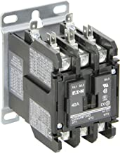 Eaton C25DNF340B. Definite Purpose Contactor, 50mm, 3 Poles, Box Lugs, Quick Connect Side By Side Terminals, 40A Current Rating, 3 Max HP Single Phase at 115V, 10 Max HP Three Phase at 230V, 20 Max HP Three Phase at 480V, 208-240VAC Coil Voltage