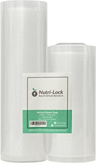 Best Nutri-Lock Vacuum Sealer Bags. 2 Rolls 11x50 and 8x50 (Total 100 Feet). Commercial Grade Food Saver Bags Rolls. Works with FoodSaver. Perfect for Sous Vide Review