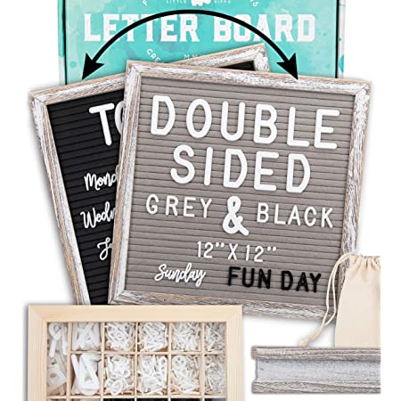 INTOQ Gray Felt Letter Board 12 x 18 Inches 433 White Pieces Adjustable Wooden Felt Letter Board with Stand Includes 2 Canvas Letter Bags