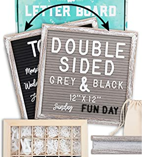 """Letter Board 12""""x12"""" Rustic Double Sided (Black & Gray) +690 Pre-Cut Letters +Cursive Words +Stand +Upgraded Wooden Sortin..."""
