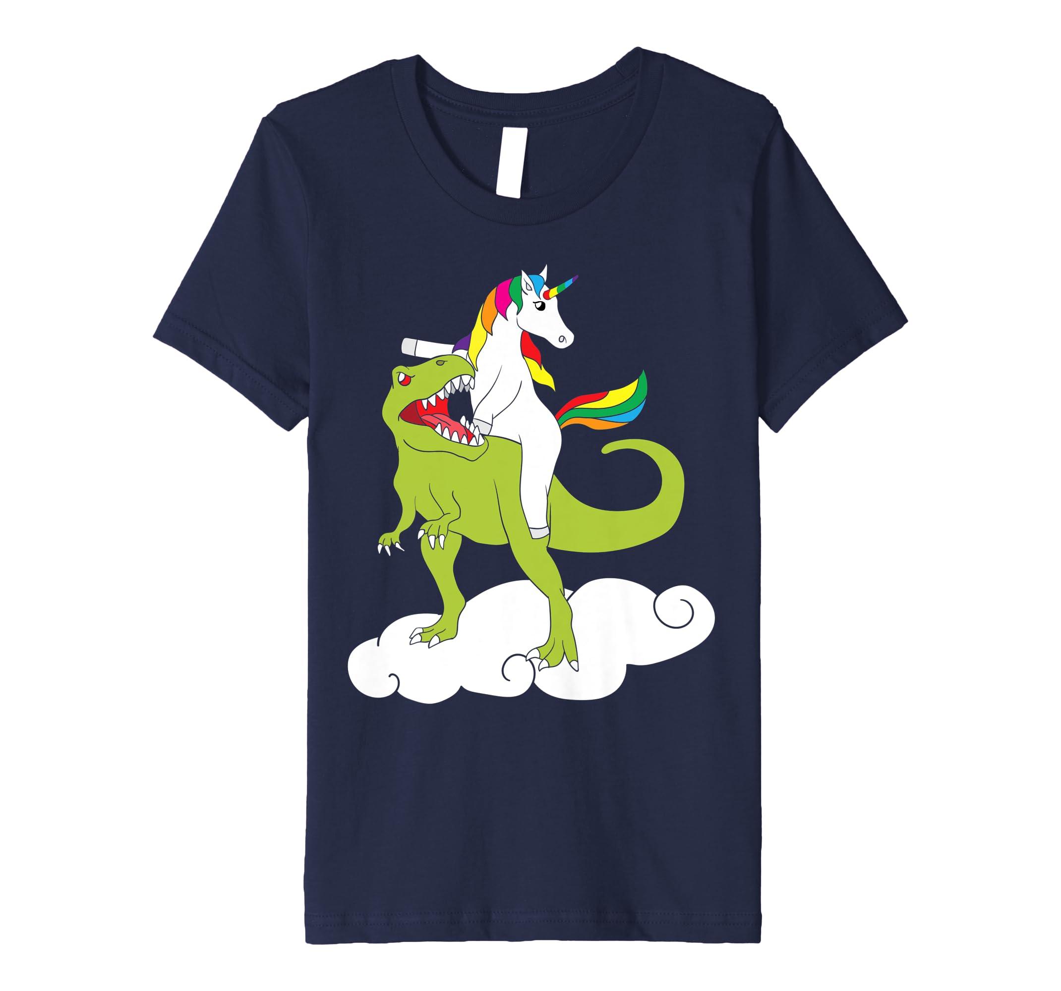 fefb51eb237 Amazon.com  Unicorn Riding T-Rex T-Shirt Dinosaur Unicorn Tee Kids Gift   Clothing