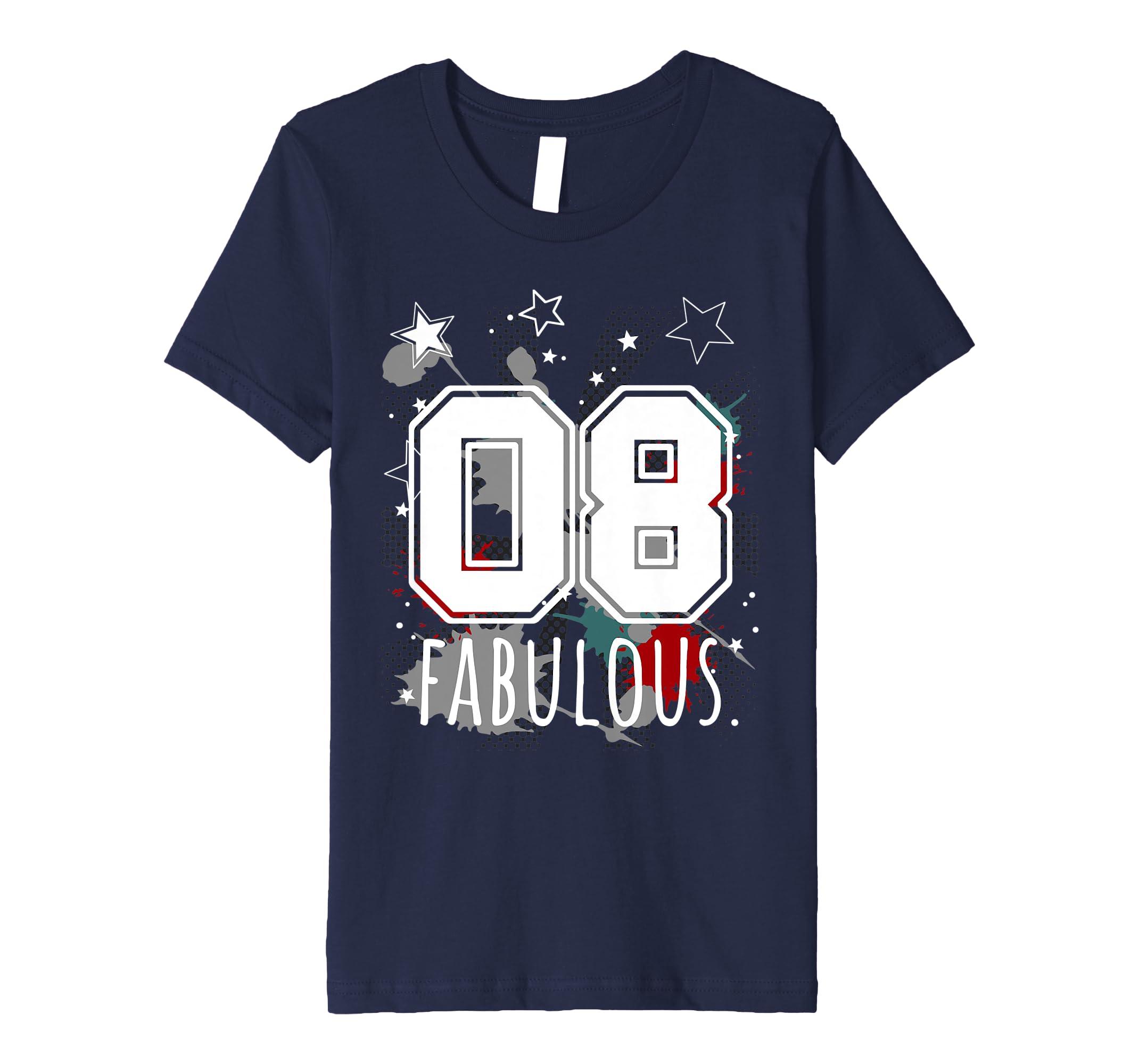 8th birthday t shirt big college number graffiti 8 yrs old amazon co uk clothing