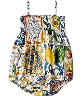 Dolce & Gabbana Kids - Poplin Maioliche Print One-Piece (Infant)