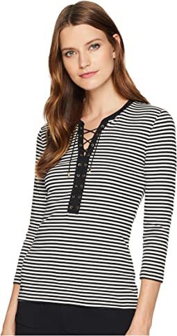 Lace-Up Striped Cotton Top