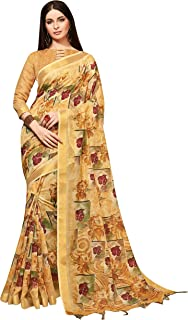 Sarees for Women Linen Silk Digital Print with Silk Boarder Saree l Indian Ethnic Wedding Gift Sari with Unstitched Blouse