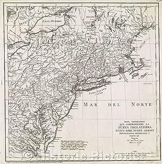 Map - Mapa Geografico que comprehende la Nueva Inglaterra, Nueva York, Nueva Jersey, Pensilvania, Maryland y parte de Virginia por Don Tomas Lopez, 1778 - Vintage Poster Art Wall Décor - 24in x 24in