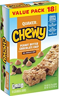 Quaker Chewy Peanut Butter Chocolate Chip, (Each 18 Count of 0.84 oz Bars) 15.2 oz