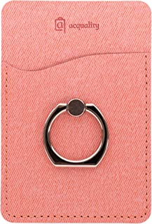 Acquality PU Leather Cell Phone Wallet/Pocket/Card Holder with Ring Stand for Mobile Devices, Adhesive Sticker Back (Pink ...