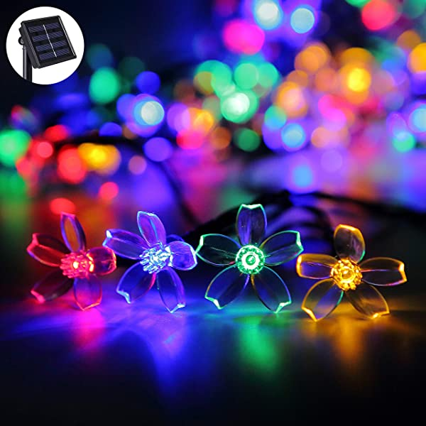 Darknessbreak 8 Modes Solar Flower String Lights Cherry String Lights 23ft 50 LED Multicolor Solar Power Outdoor Blossom Sakura String Lights For Garden Decorations Yard Lawn Tree