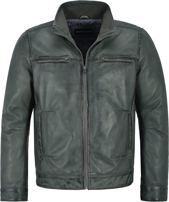 Smart Range Men's 999 Grey Soft Retro Urban Biker Style Zipped Casual Bomber Leather Jacket (3XL)