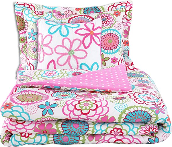 Cozy Line Pink Floral Polka Dot 3 Piece Comforter Set With Floral Decorative Pillow Twin