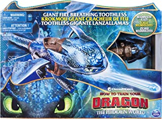 Dragons 6045436 DreamWorks, Giant Toothless, 20-inch Fire Breathing Effects and Bioluminescent Colour, for Kids Aged 4 and Up, Blue/Black