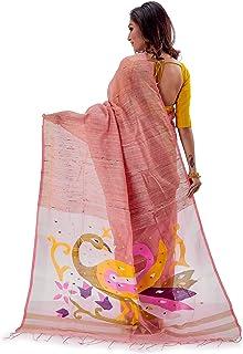 SareesofBengal Women's Handloom Muslin Dhakai Jamdani Silk Saree Peach Multicoloured
