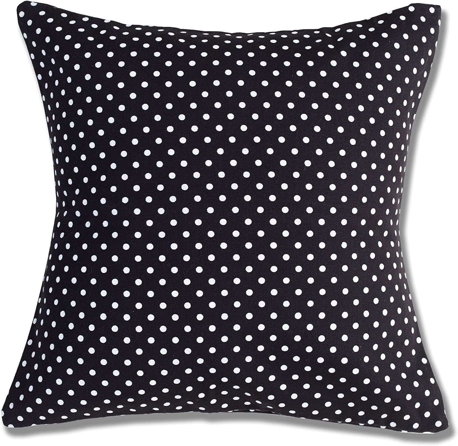 Style Homez Cotton Canvas Polka Dots Printed Cushion Small Size Set of 2 Cover Only