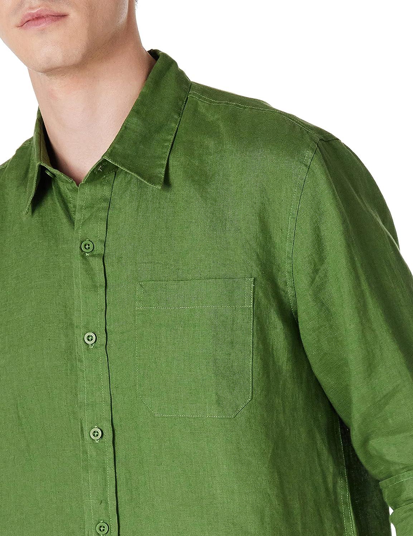 Isle Bay Linens Men's Slim-Fit 100% Linen Long-Sleeve Woven Casual Shirt