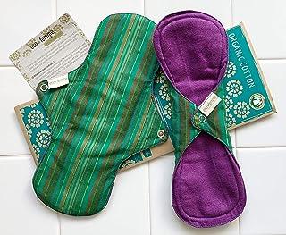 多い日用2枚セット 南インド「Eco Femme」布ナプキン 洗えるオーガニックコットン(肌面色付き)防水あり・内側に6層のフランネル使用 GOTS認定品