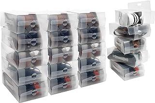 Kurtzy Caja Zapatos Plástico Transparente (Pack de 20) Apto para Zapatos de Mujer, Hombres y Niños - Organizador de Zapato...