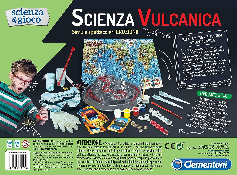 Juguetes y Kits de Ciencia para ni/ños Geolog/ía, Kit de experimentos, 8 a/ño , Ni/ño//ni/ña, 385 mm, 285 mm s Clementoni Eruzioni Vulcaniche Kit de experimentos