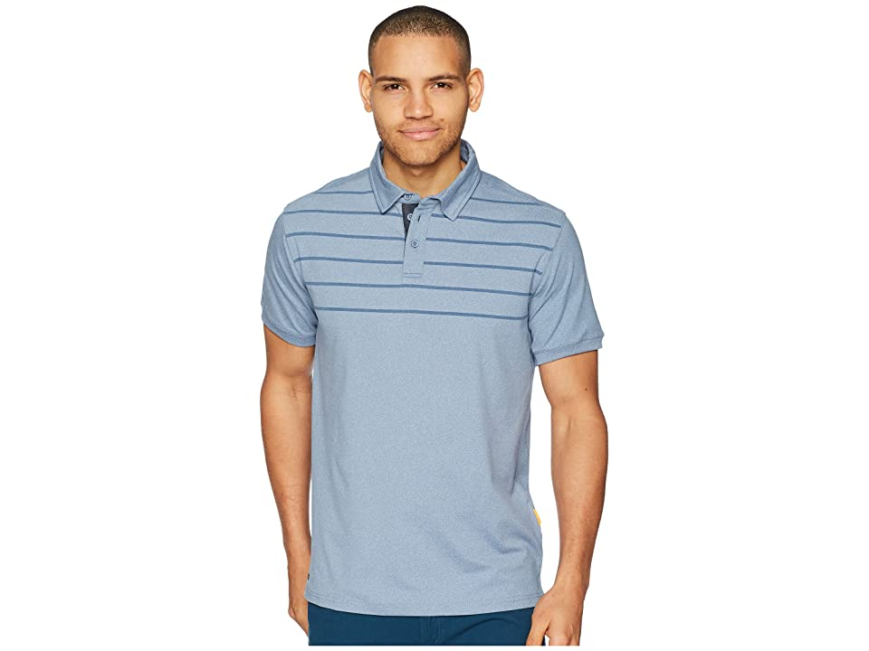 Quiksilver Waterman Striped Reel Backlash Technical Polo (Blue Shadow Heathered) Men