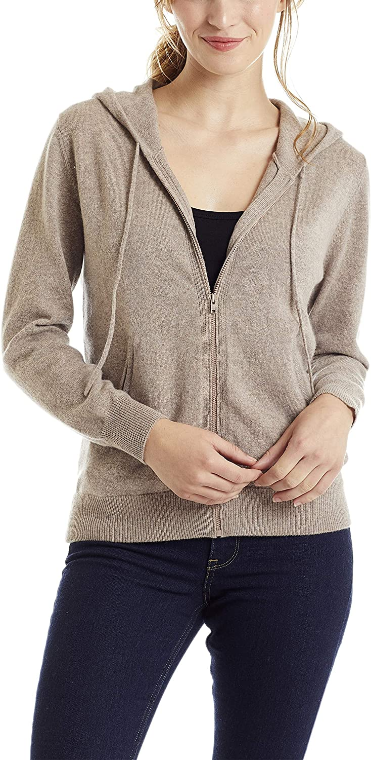 Invisible World Women's 100% Cashmere Sweater Zip Up Hooded Cardigan Taupe Med