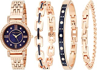 Anne Klein Women's Gift set Rosegold Stainless Steel strap Round case with a blue dial with 3 additional jewelry set
