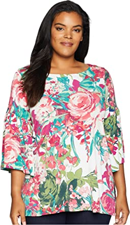 Plus Size Bell Sleeve Side Slit Top