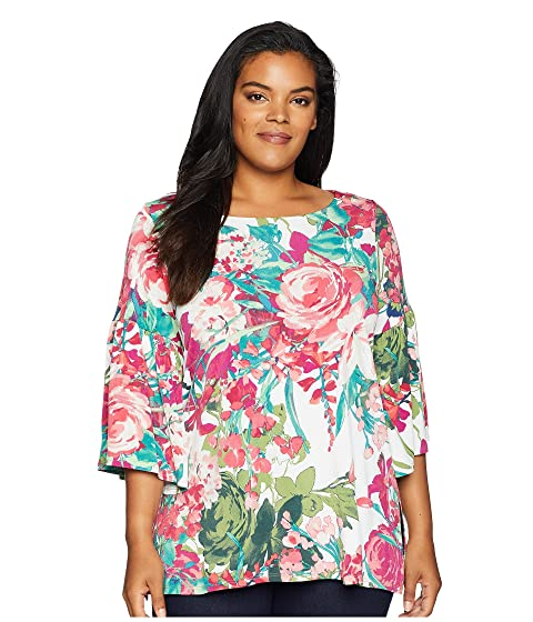 KAREN KANE PLUS Plus Size Bell Sleeve Side Slit Top, Print