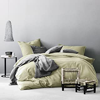 Eikei Washed Cotton Chambray Duvet Cover Solid Color Casual Modern Style Bedding Set Relaxed Soft Feel Natural Wrinkled Look (Queen, Lime Olive)