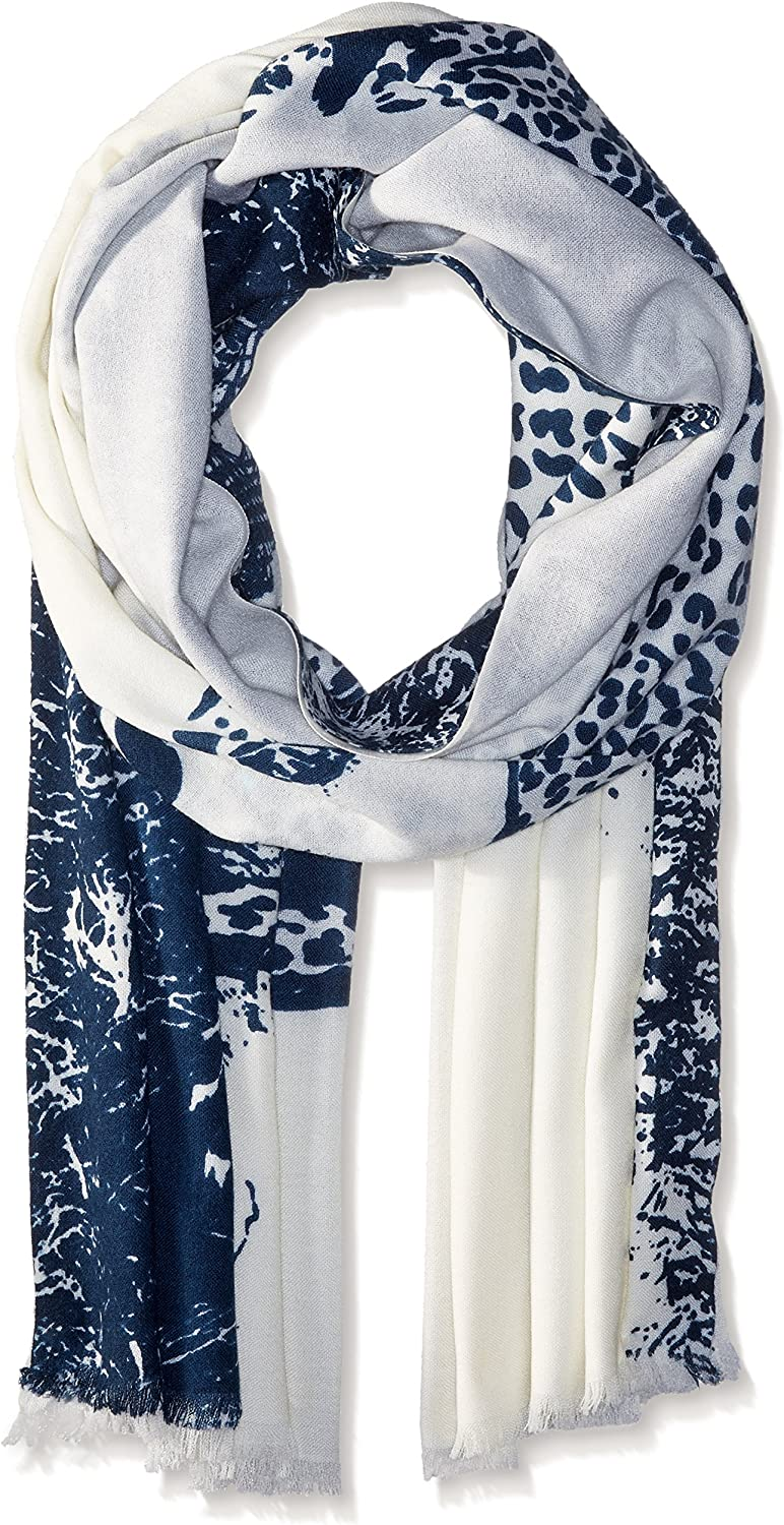 Badgley Mischka womens Cheeta Oblong With Embroidered Eye Scarf Scarve