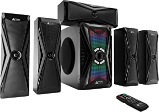 Frisby Audio 125 Watt Home Theater 5.1 Surround Sound Speaker System with Subwoofer, Bluetooth Wireless Streaming from Devices & Media Reader, RGB LED Pulse Lighting, Digital Optical Input – Black