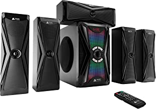 Frisby Audio 125 Watt Home Theater 5.1 Surround Sound Speaker System with Subwoofer, Bluetooth Wireless Streaming from Dev...
