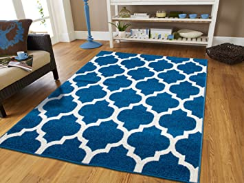 Luxury Morrocan Trellis Area Rug Blue And White Lines 5x8 Rugs Western Style Modern Rugs For Living Room Contemporary Rugs 5x7 Blues Carpet Washable 5x8 Furniture Decor